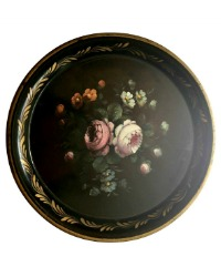 Antique French Hand Painted Black Tole Tray