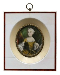 Antique Hand Painted French Portrait Minature Bone Frame
