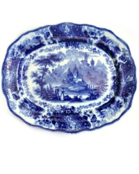 Antique Flow Blue Scenic Serving Platter