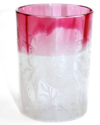 Antique Cranberry Etched Tumbler Glass with Egrets