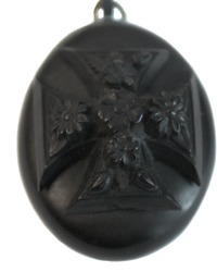 Antique Heirloom Black Mourning Locket Cross