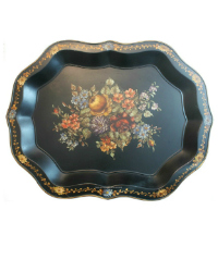 Hand Painted Chippendale Signed Tole Tray Rose