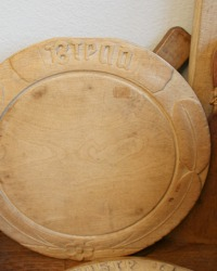 19th Century Hand Carved Round Bread Board Floral