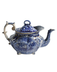 Antique Early Staffordshire Flow Blue Floral Teapot