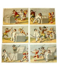 Antique French Trade Cards Pierrot et Harlequin Set