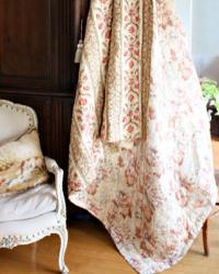 Large Antique French Provincial Quilt Boutis Pique Acorns