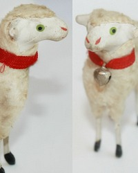 Antique Country Sheep with French Red Silk Collar Brother and Sister