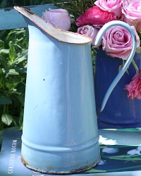 Antique French Country Enamel Milk Pitcher Light Blue