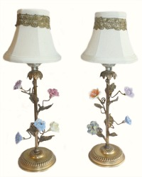 Antique French Gilt and Porcelain Flowers Lamps Pair