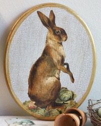 Limited Edition French Country Hare Wall Plaque Blue