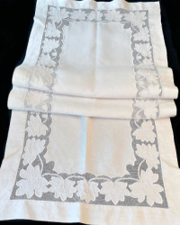 Antique French Country Hand Embroidered Net Appliqué Runner