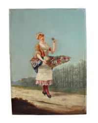 Antique French Oil Painting on Wood Panel Flower Gatherer