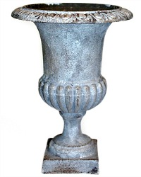 Antique French Estate Cast Iron Medici Urn Single Silvered