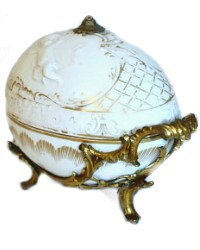 Antique 19th Century French Old Paris Porcelain Egg Floral Gilt Casket