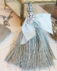 Parisian Atelier Sea Blue and Rhinestone Tassels Set of 2