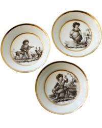 Antique French Hand Painted Sevres Quality Porcelain Miniature Plates Set 3