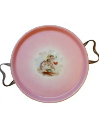 Antique French Pink Porcelain Plateau Tray Cherubs