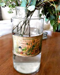 Antique French Apothecary Glass Jar Savon