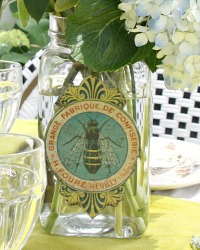 Antique French Apothecary Jar Bee Label