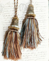 Vintage Beaded Buillon Tassel Pair Chocolat et Bleu II