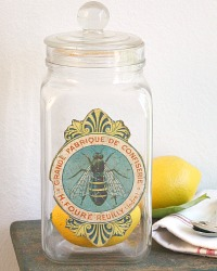 Antique French Candy Store Jar Bee Label