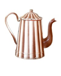 Antique French Chocolate and White Striped Enameled Coffee Pot