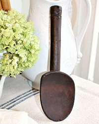 Antique French Hand Carved Hotel Wood Spoon Dark