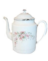 Antique French Enameled Floral Large Teapot