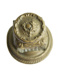Antique Glass and Bronzed Gold Finish Ink Well with Cherub