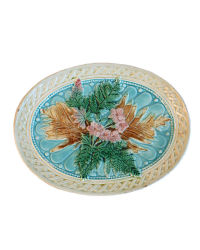 Antique Majolica Pink Flowers & Ferns Platter