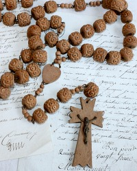 Antique French Nun's Wood Hand Carved Rosary