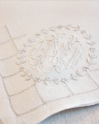 Exceptional Rare Damask Embroidered Tablecloth and 12 Napkins