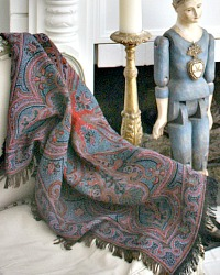 French Country Paisley Throw Blue