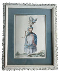 Antique French Engraving Hand Colored in Gesso Frame