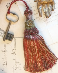 Vintage Buillon Tassel with Bird Button and Antique Key 2