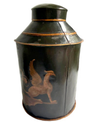 Antique French Hand Painted Black Tole Canister Griffins