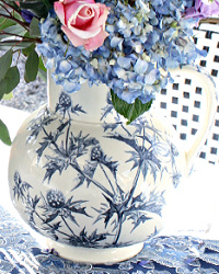 Antique French Ironstone Pitcher with Blue Floral Design