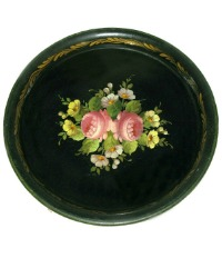 Antique French Tole Peinte Tray Peonies