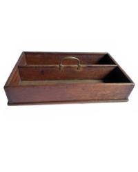 Antique Wood Wood Carrier Silverware Tote