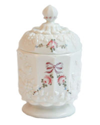 Vintage Milk Glass Canister Jar with Pink Roses