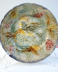 Antique Majolica Plate Bird of Paradise