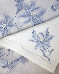 Heirloom VIntage Madeira Blue & White Tablecloth Napkins for 12
