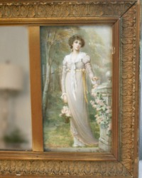Antique Wood Gilt Wall Mirror with Two Ladies Prints