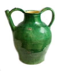 French Green Glazed Terra Cotta Jug or Water Cruche