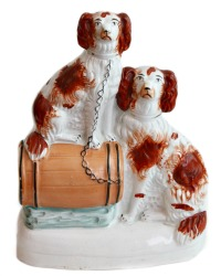 Antique Staffordshire Figure of Dogs on Barrel