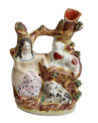 Antique Staffordshire Figure of Girl, Dog and Sheep Spill Vase