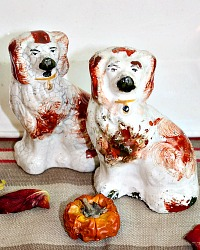 Early Antique Miniature Staffordshire Spaniel Dogs Brothers