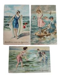 Antique Raphael Tuck Ocean Greetings Postcards Set of 3