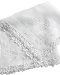 Antique Hand Embroidered White Linen Wedding Handkerchief