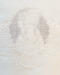 Antique Appenzell Embroidered Lady with Hat Towel